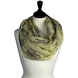 KnitPopShop Cat Scarf for Women Fashion Infinity Loop Circle Cream