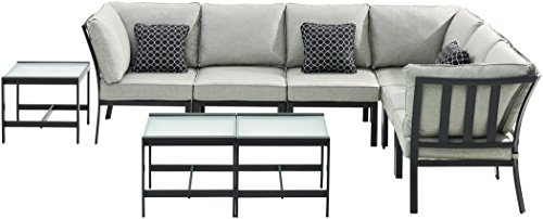 Hanover MUR-9PC-SLV Murano Modular Sectional Set - Silver Linings (9 Piece), Grey, Outdoor Furniture (Furniture Set Murano)