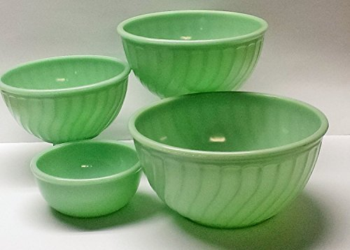 Jade Green Milk Glass Set of 4 Fire King Jadiete Mixing Bowls (Anchor Milk Hocking)