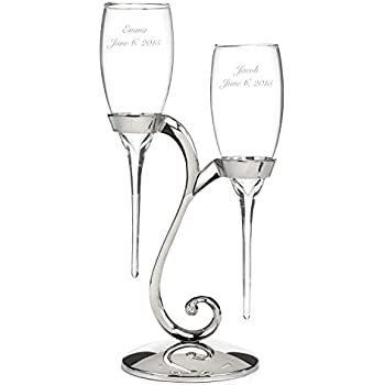Personalized Raindrop Champagne Flutes - Canopy Street - Custom Engraved Set of 2 (20772P)