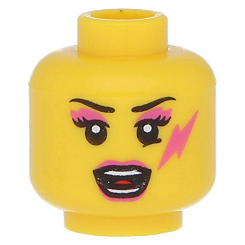 LEGO Yellow Minifig Head Female with Dark Pink Lips, Eye Shadow and Lightning Bolt, Open Mouth Pattern - x1 Loose Shadow Bolt