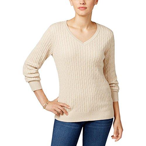 Karen Scott Womens Cable Knit Ribbed Trim V-Neck Sweater Tan (Scott V-neck Cardigan)