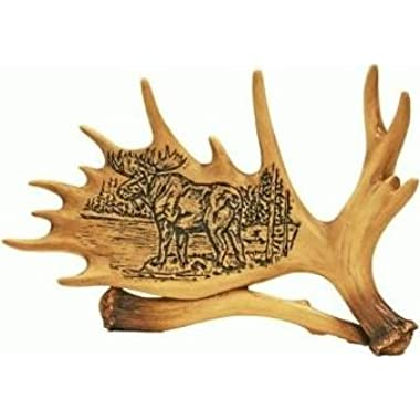 Moose Design on a Moose Antler Lodge Decor 7  (Great Desk or Shelf Decor)