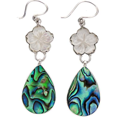 - 1 5/8'' Flower Mother of Pearl Shell PAUA Abalone 925 Sterling Silver Earring YE-1541