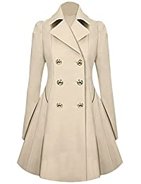 URqueen Women's Vintage Mid-long Slim Fit Double-breasted Button Trench Coat