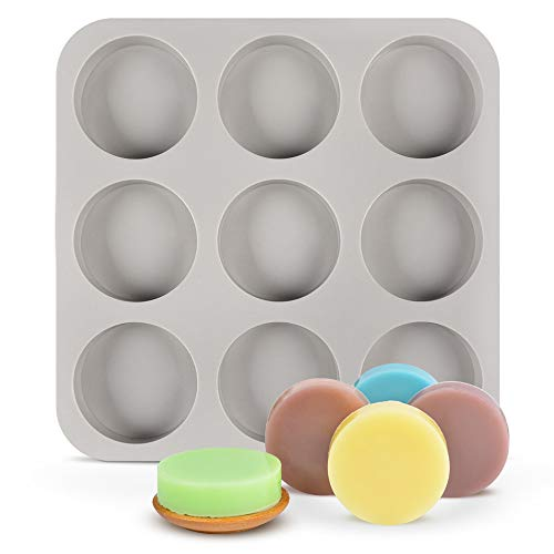 SJ 9-Cavity Large Round Disc Silicone Mold for Disc Cake, Pie, Custard, Tart and Resin Coaster Mold - Cylinder Circle Silicone Soap Mold (Gray, Pack of 1)