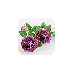 Fashion-LN 66cm Long European Artificial Flower 3 Head Home Silk Peony Wedding Flower Party Decor 1pcs,Purple,1pcs 118