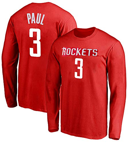Outerstuff NBA Youth Game Time Team Color Player Name and Number Long Sleeve Jersey T-Shirt (X-Large 18/20, Chris Paul Houston Rockets)