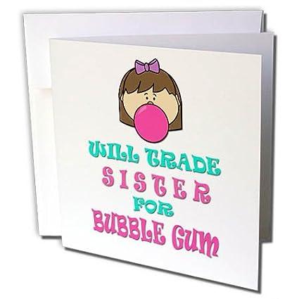 Amazon 3drose rinapiro kids will trade sister for bubble 3drose rinapiro kids will trade sister for bubble gum 6 greeting cards m4hsunfo