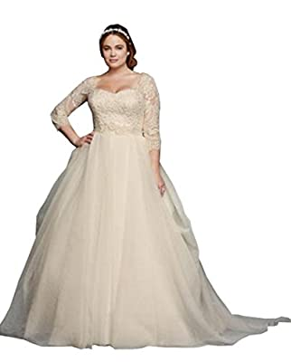 Ellystar Women's A-Line Tulle 3/4 Sleeve Covered Button Scoop Bridal Dresses