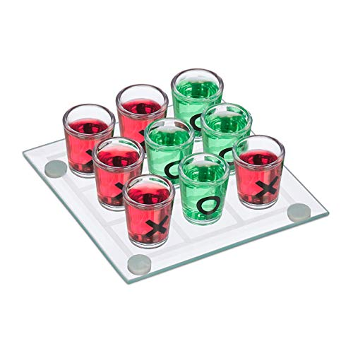 Relaxdays Tic Tac Toe Drinking Game for Adults, 2 Players, 9 Shot Glasses, Funny Party Game Set, Transparent ()