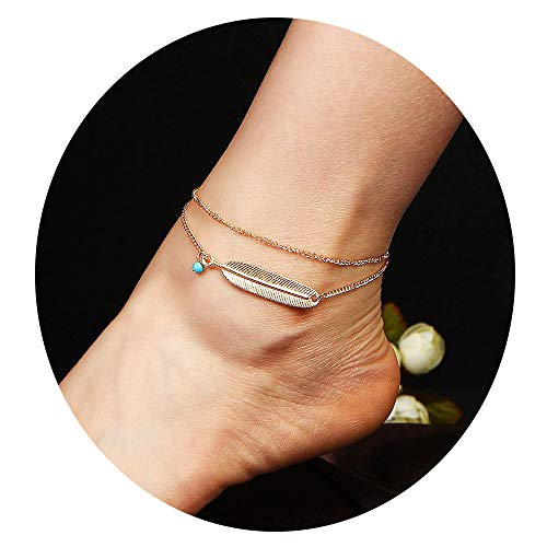 Bestwick Double Layered Anklet for Teen Girls Women Vintage Foot Chain Synthetic Turquoise Bead Feather Foot Bracelet Boho Summer Jewelry