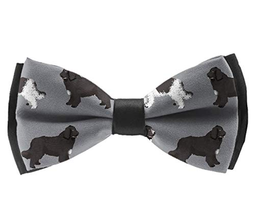 Mens Pre-tied Satin Bow Tie Adjustable Bowtie(Newfie Dog)