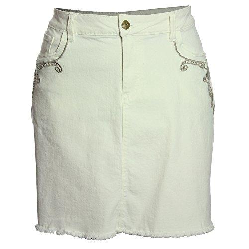 (Nanette Lepore Women's Plus A-Line Embroidered Denim Jean Skirt 16w Pristing)