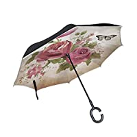 MRMIAN Vintage Old Paper With Roses and Butterfly Windproof Inverted Open Close Reverse Rain Umbrella Inside Out Quality Waterproof Parasol Upside Down Stick Shelter with Hook c Handle