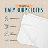 "AllSett Baby 8 Pack Muslin Burp Cloths Large 20"" by 10"" 100% Cotton, Hand Wash Cloth 6 Layers Extra Absorbent and Soft"