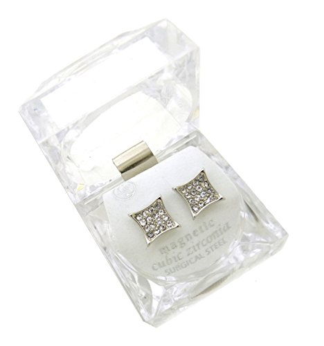 Gold, Silver Tone 12.7 mm Rhinestone Square Shape Magnetic Stud Earring XE1137 (Silver (Hip Hop Magnetic Earrings)