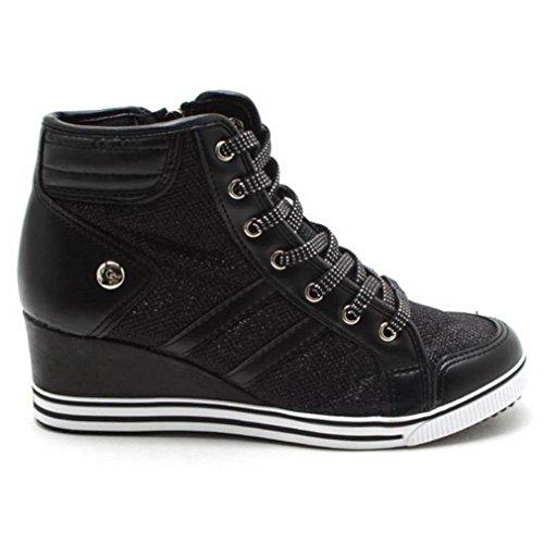 Epicstep Femmes Paillettes Hauts Hauts Talons Compensés Chaussures Casual Zip Velcro Mode Sneakers Lacets Noir