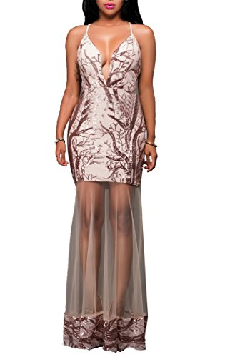 Ruched Mesh Gown (Women's Sexy Spaghetti Strap V-Neck Sleeveless Sequin Bodycon Party Dress Champagne, X-Large)