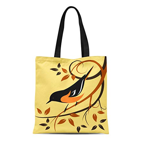 Semtomn Cotton Line Canvas Tote Bag Orange Birds Baltimore Oriole Animals Swirls Wildlife Autumn Colors Reusable Handbag Shoulder Grocery Shopping Bags