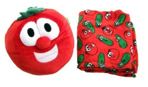 Veggie Tales Bob the Tomato Zoobies Plush Toy, Soft Pillow and Cozy Blanket (Plush Soft Toy Zoobies)