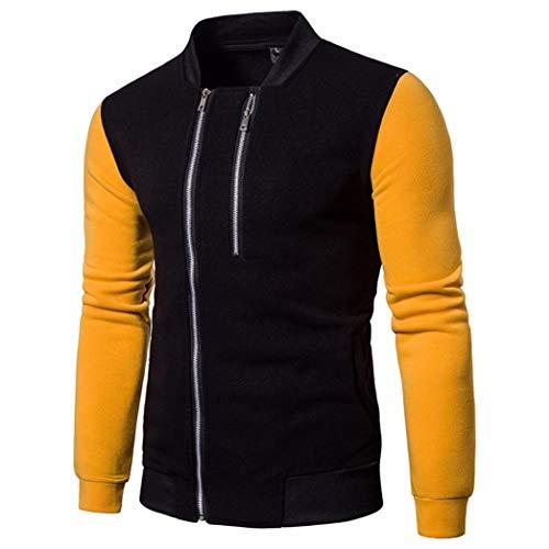 Men's Fashion Long Sleeve Patchwork Zipper Sweatshirt Tops Bomber Jacket Coat Outwear by Bookear