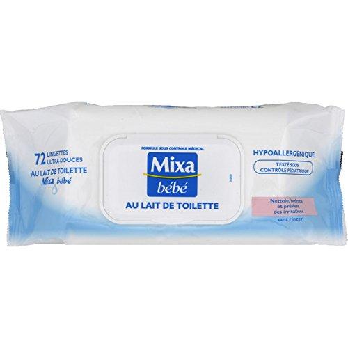 MIXA - bebé Toallitas ultra-douces con leche de baño, sin rincer el paquete de 72 toallitas (precio unitario) - envío rápido y entrecruzado: Amazon.es: Bebé