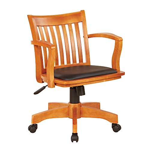 Wood Bankers Desk Chair With Arms - Adjustable Height, Ti...