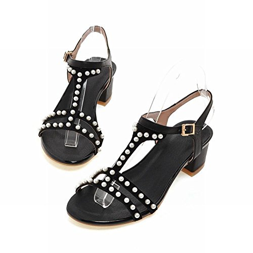 Carolbar Womens Buckle T-Strap Beaded Fashion Retro Chunky Mid Heel Sandals Black XP5BjCXxD