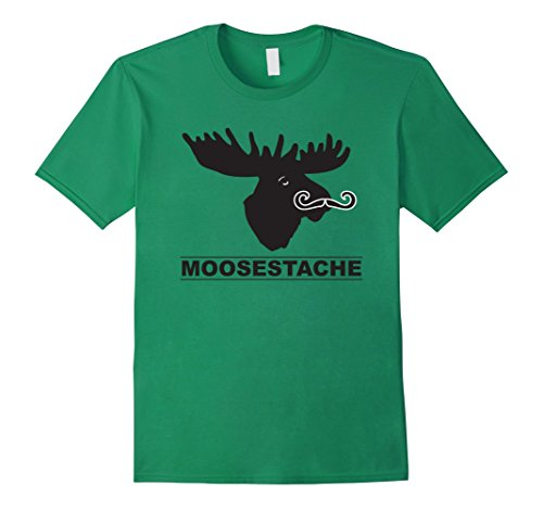 Hair Facial Moustache (Mens Funny Men Facial Hair Joke moustache mustache Moose Shirt 2XL Kelly)