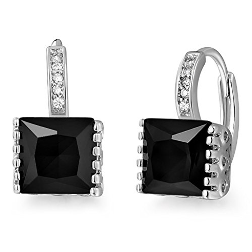 GULICX Fashion Jewelry White Gold Electroplated Square Princess Cut Zircon Huggie Hoop Earrings Black