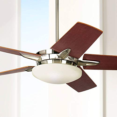 """56"""" Casa Endeavor Modern Ceiling Fan with Light LED Dimmable Remote Control Brushed Nickel Reversible Blades for Living Room Kitchen Bedroom Dining - Casa Vieja"""