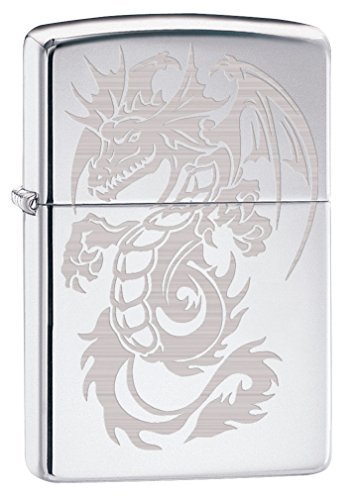 Zippo Lighter: Dragon with Wings, Engraved - High Polish Chrome (Engraved High Polish)