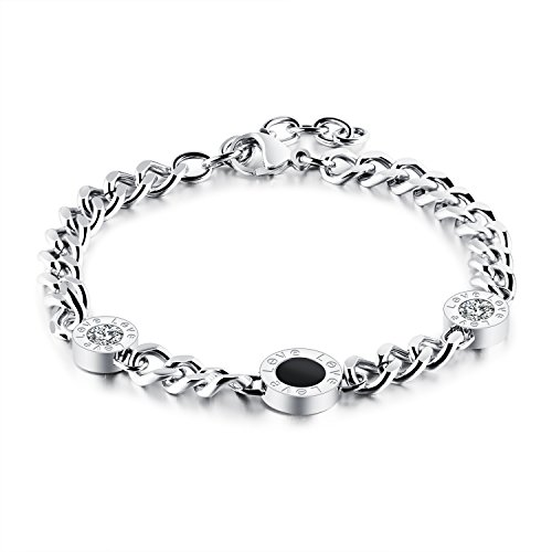 Dalino Fashion and Personality Korean Style Fashion Roman Numeral Round Pendant Bracelet Titanium Steel Bangle(Silver) by Dalino