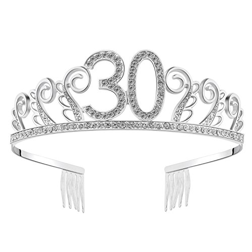 BABEYOND Crystal Rhinestone Tiara Princess Crown Birthday Crowns Silver Diamante Happy 18/20/21/30/40/50/60th Birthday (Silver-30th) for $<!--$12.99-->