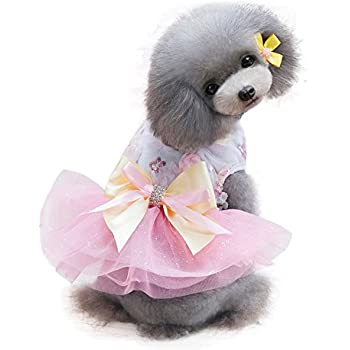 Pet Heroic Puppy Dog Cat Dress Summer Dog Puppy Basic Dresses Vest Shirts Clothes Pink Grey Strips Colors Appeals Only for Small Dogs Cats Puppy Girl Females Weight 1.5-13.2 pounds