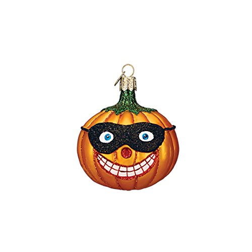 Old World Christmas Glass Blown Ornament with S-Hook and Gift Box, Halloween Collection (Masked Jack O'Lantern [Smile])]()