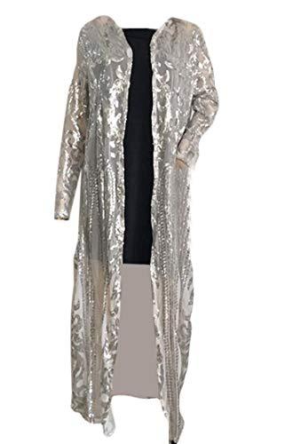 (Jotebriyo Womens Sexy Glitter Sequins Open Front Midi Transparent Cardigan Coat Silver L)