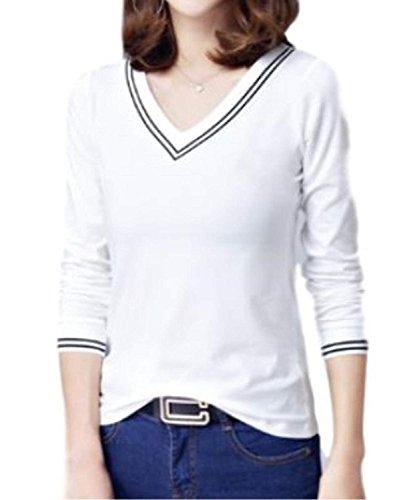 緩やかな中断拍手LIANHONG Tシャツ Vネック 七分袖 カットソー シンプル 無地 (サイズ(M))