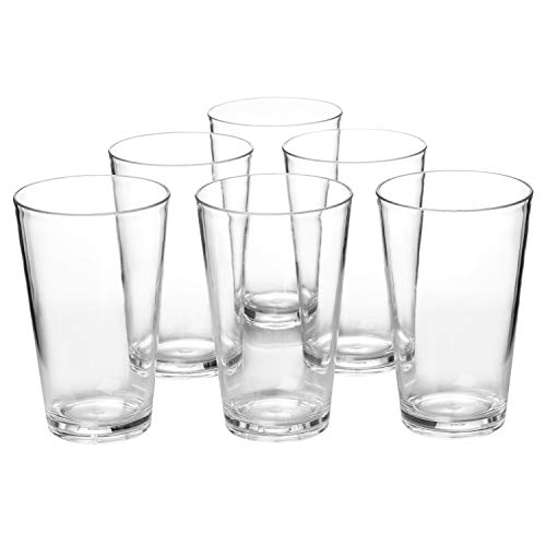 Classic 18-ounce Plastic Tumblers Drinking Cups Dishwasher Safe BPA-free Clear set of 6 Premium Quality Dinner Glasses