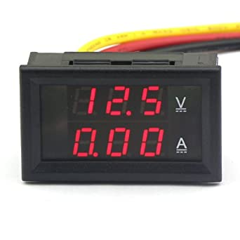 drok 3 wires dc voltmeter ammeter 4 5 30v 2a 12v volt amp monitor rh amazon com digital voltmeter ammeter wiring diagram AC Ammeter Panel Meter