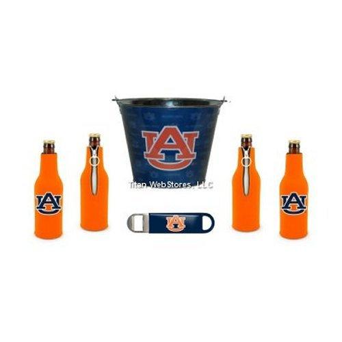NCAA Auburn Beer Bucket, Bottle Suit (4) and Opener Set | Auburn Tigers Koozie & Bucket Gift Set