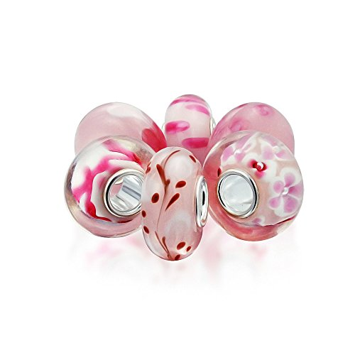 Baby Pink Floral Murano Glass Mix Of 6 Sterling Silver Core Spacer Bead Fits European Charm Bracelet For Women For Teen ()