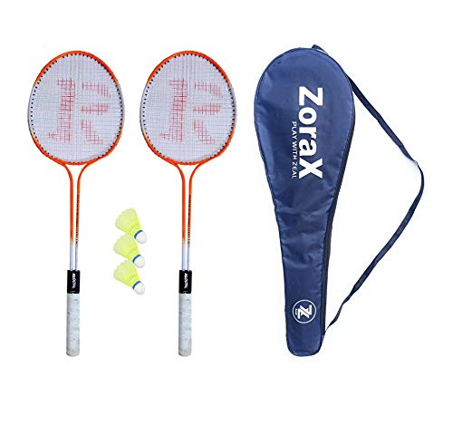 ZORAX Multicolor Badminton Racquet Set Pack of 2 Piece with Attractive Cover and 3 Piece Plastic shuttlecocks