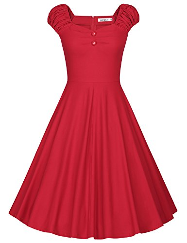 MUXXN Women's Retro 1950s Tea Length A Line Rockabilly Housewife Dress (Red M)
