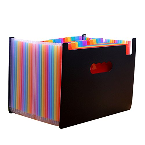 iSuperb File Folder Large Capacity Multicolored Expanding Files Accordion Folder with 24 Pockets Office and Study Document Organizer (24 Pockets)