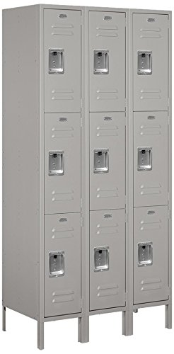 Standard Locker Steel (Salsbury Industries 63368GY-U Triple Tier 36-Inch Wide 6-Feet High 18-Inch Deep Unassembled Standard Metal Locker, Gray)