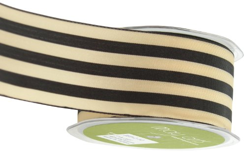 May Arts 2-Inch Wide Ribbon, Black and Ivory Stripe ()