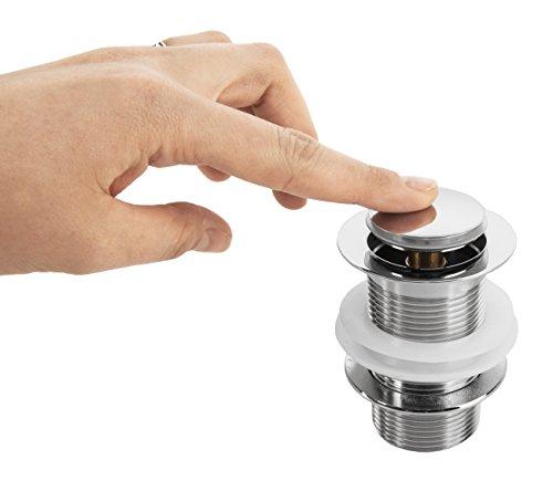 VILSTEIN© Pop-Up Ablauf-ventil Ablauf-garnitur für Waschbecken ohne Überlauf, Push-Technik, Chrom