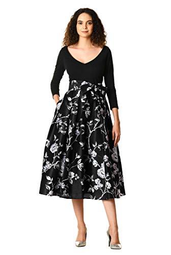 eShakti Women's Floral Print Dupioni Cotton Knit Dress L-14 Regular Black/Multi